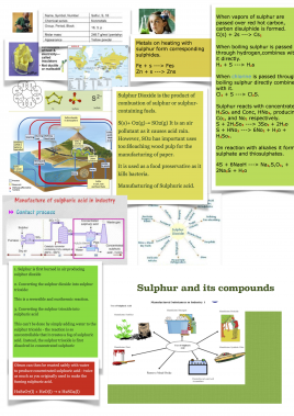 Learning mat on Sulphur and its compounds